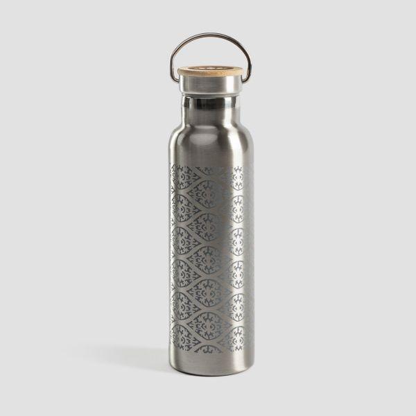 Lotuscrafts Edelstahl Trinkflasche mit Bambusdeckel - Blockprint