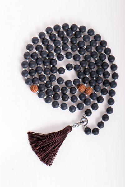 Berk Mala der Erkenntnis Obsidian und Rudraksha